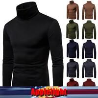 Mens Solid Turtleneck Tops Long Sleeve Shirt Pullover Stretch Sweatshirt Jumper