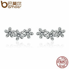 Bamoer Solid .925 Sterling Silver Stud Earrings With CZ Daisies Flower For Women