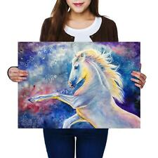 A2 | Magical White Horse Pony Drawing Size A2 Poster Print Photo Art Gift #14220