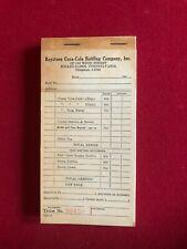 """1940's, Coca-Cola, """"Un-Used"""", Bottling Company Receipt Pad (Scarce / Vintage)"""