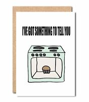 funny pregnancy announcement card Bun in the Oven for Parens Husband Friend PA84