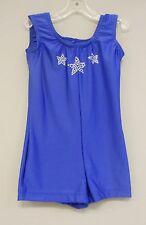 ROYAL LYCRA+RINESTONE BIKETARD/LEO DANCE GYMNASTIC SKATE COSTUME-Size CHILD-SM