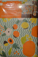 Fall Floral Pumpkins Geo Vinyl Tablecloth Flannel Back Sizes Round, Rectangle