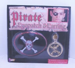 Pirate Eye Patch and earring Fancy Dress Costume Accessories Carribean Buccaneer