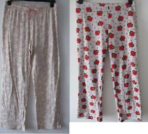 2x George Women's Pink Sheep Red Birds Fleece Pyjama Trousers Bundle Size 12-14