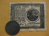 U.S. Colonial Coin and Banknote set  Historical item Continental Dollar  History