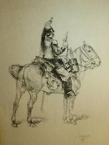 Edouard DETAILLE 1848-1912 Gravure EAU FORTE ORIGINALE CUIRASSIER MILITAIRE 1875