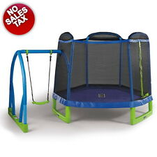 Round Trampoline With Safety Net and Swing Outdoor Jumping Bounce Kids Fun NEW