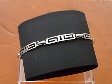 "Beautiful 7.25"" SIXTAR MEXICO MS-66 Marked Sterling Silver Grecian Bracelet 6.8g"