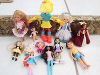 Doll Lot of 10 dolls various sizes smaller dolls