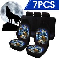7pcs Car Front Seat Cover Cushion Wolf Printed Protector Sedan SUV Universal