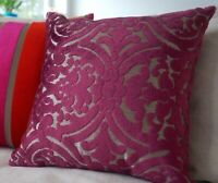 SALE Cut velvet throw pillow cover 16x16''' Luxury Damask Magenta Toss Cushion