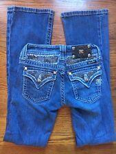 MISS ME Black Lace Rhinestone Medium Wash Boot Cut Jeans Sz 25 (I#1167)