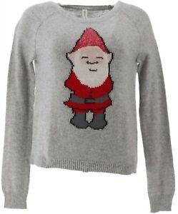 Bethany Mota Long Slv Crew Neck Gnome Ribbed Sweater Light Grey S NEW A273791