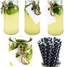 12 X Verre Cocktail Pots + Rétro Pailles Marriage Maçon Fête Vintage Lait