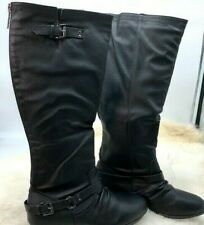 Women's Shoes Boots Knee High Riding Motorcycle Slouchy Flat Military Black 9M