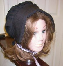VICTORIAN  BONNET / TUDOR  LARP HAT Adult BLACK  National Dress