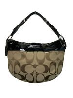 Coach LAURA Signature Hobo bag Shoulder Purse F14938 Brown And Black