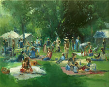Picnic in the Park Original Large Oil Painting on Canvas by Dusan Trees Nature