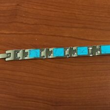 """Stainless Steel Inlaid Turquoise Bracelet 8"""""""