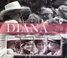 Liberia 2011 MNH Princess Diana 50th Birth Anniv 4v M/S II Royalty
