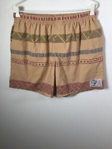 Muns Worn out mens beige geometric elastic waist drawstring shorts size 36