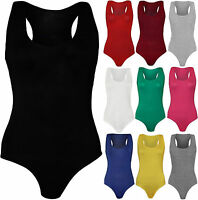 New Womens Sleeveless Racer Back Ladies Stretch Bodysuit Leotard Vest Top 8-14