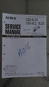 aiwa csd-xl25 xl3 xl33 Service Manual Original Repair book boombox ghettoblaster