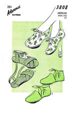 Vintage Advance Slippers Tie On Shoes Fabric Sewing Pattern #3808