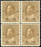 Mint H/NH Canada F+ Block 10c 1925 Scott #118b King George V Admiral Stamps