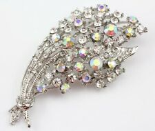 Attractive Bridal Wedding Brooch Pin Clear Fine Austrian Rhinestone Crystal