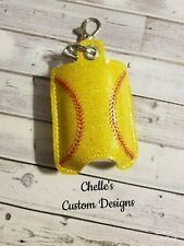 Softball Hand Sanitizer Vinyl Case Key chain Bottle Included  FREE SHIPPING