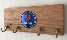 Saab Wood Emblem Key Organizer Holder with Metal 4 Hooks Solid Wood Key Storage