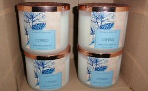 BATH AND BODY WORKS CYPRESS 3 WICK CANDLES X4 WITH ESSENTIAL OILS BRAND NEW