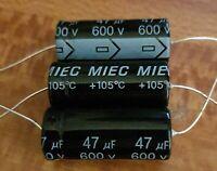 Valve Tube Radio 10x MIEC 47uf 600-volt electrolytic capacitors. 650 v surge .