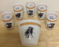 Hazel Atlas Milk Glass Grecian Ice Bucket & 5 Tumblers Greek Key/Warrior/Horse