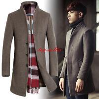 Korean Men's Wool Blend Trench Coat Slim Fit Peacoat Long Jacket Formal Overcoat