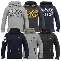 Mens Sweatshirt Crosshatch Hooded Top Sweat Pullover Gym Casual Fleece Lined New