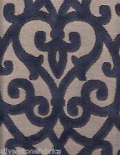 6.25 yds Fabricut Upholstery Fabric Scrollwork Velvet Grandview Indigo DH6