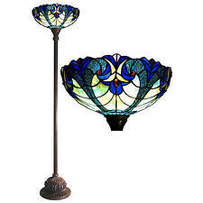 Floor Lamp Tiffany Style Red Jewels Green Stained Glass Shade