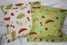 *Deko-Traeume* 2 Stuhlkissen Sitzkissen Früchte Landhaus Grün Beige