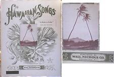 """RARE OLD UNUSED HAWAIIAN SHEET MUSIC """"A KELE A KELE"""" WALL NICHOLS 1890s"""