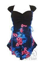BabyDoll Dare to Wear CINCH Tie Back Corset Top Blue Potion Size 4XL, 4X, 24-26