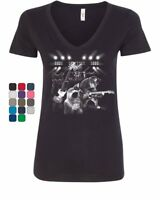 Cats Rock Concert Women's V-Neck T-Shirt Rock & Roll Cat Lover Kitten Music
