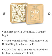 1g Pure Gold Brexit Ingot Fantastic Investment with COA limited mintage 19999