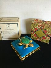 AVON TORTOISE Turtle Turquoise Solid Perfume Full Glace Compact Never Used