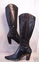 CIRCA JOAN DAVID BLACK LEATHER WESTERN TALL  ZIP HIGH HEEL FASHION BOOTS SZ 8.5