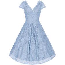 Vestiti da donna stile anni'50, rockabilly blu con scollo a v