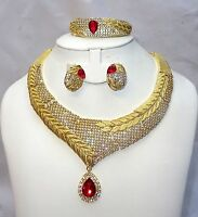 Elegant Crystal High Dubai Quality Real Gold Plated Necklace Bridal Party Set