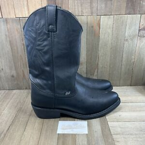Justin Cowboy Boots Black Leather Western Country Work (JB1111) Mens Size 10 D
